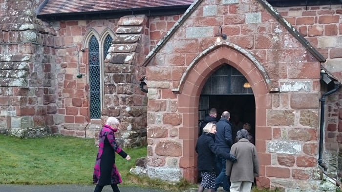 People arriving at St Andrew's church